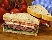 Roast Beef and Brie Sandwich on Rye Bread