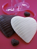 White and Dark Chocolate Candy Hearts