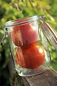 Two Beefsteak Tomatoes in a Preserving Jar
