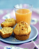 A Corn Muffin with Orange Juice