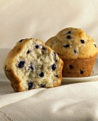 Half of a Blueberry Muffin; Whole Muffin