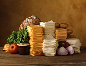 Stacks of Sliced Cheeses