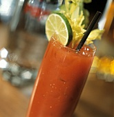 Bloody Mary with lime and celery