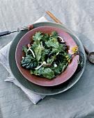 Mixed salad leaves with chard and enokitake mushrooms