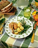 Chicken leg with sweetcorn, green beans & mashed potato