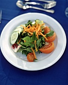 Mixed salad with carrots, tomatoes and cucumber