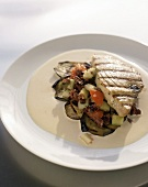 Swordfish with ratatouille on cream sauce