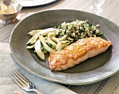 Salmon fillet with cucumber and herb couscous