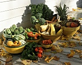 Autumn vegetable still life with fruit bowl on veranda