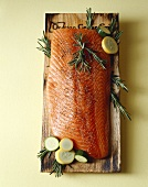 Salmon Fillet with Rosemary on Smoke Wood