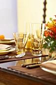 Glasses on Set Thanksgiving Table
