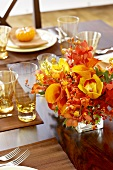Orange Floral Centerpiece on Dining Table