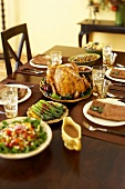 Thanksgiving Meal on Set Dining Table