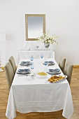 Table Set for Hanukkah Dinner, Platter of Latkas