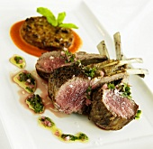 Rack of Lamb with Mint Sauce, Eggplant Apple Cake