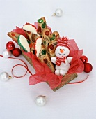 Fruitcake Biscotti in a Christmas Gift Box