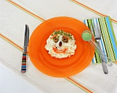 Mashed Potato Face with Sprouts, Carrots, Bean and Olives