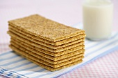 Many Graham Crackers Neatly Stacked, Glass of Milk