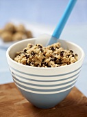 Bowl of Chocolate Chip Cookie Dough with Rubber Spatula