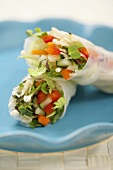 Two Fresh Vegetable Spring Rolls in Rice Paper