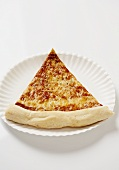 Slice of New York City Style Cheese Pizza on a Paper Plate