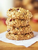 A Stack of Four Oatmeal Raisin Cookies