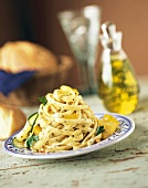 Serving of Fettucini Tossed with Parsley, Yellow Tomato and Zucchini