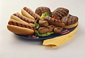 Barbecue Platter with Hot Dogs, Sausages and Hamburgers