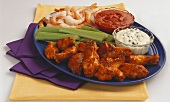 Appetizer Platter with Shrimp Cocktail and Buffalo Wings