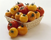 Yellow and Red Tomatoes in a Basket