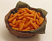 Peeled Baby Carrots in a Basket