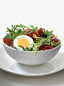 Frisee Salad with Tomato, Olives and Hard Boiled Egg