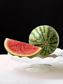 Watermelon Wedge with a Whole Watermelon on a Pedestal Dish