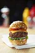 Slider Cheeseburger on a Napkin