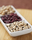 Dried Bean and Pea Variety in a Divided Dish, Black-Eyed Peas