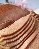 Close Up of Slices on a Glazed Spiral Cut Ham