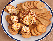 Cheese and Cracker Platter; Cheese Ball Spread on a Few Crackers