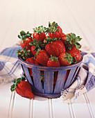 Strawberries in a Blue Basket