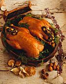 Roast Duck with Mushrooms and Hazelnuts