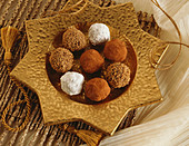 Chocolate Truffles on a Star Shaped Gold Platter