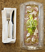Veal Carpaccio with Sliced Mushrooms and Greens