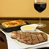 Grilled Beef Sirloin with Au Gratin Potatoes and Red Wine