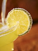 Close up of Salted Lime on a Margarita Glass