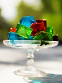 Colorful Gelatin Cubes in a Glass Pedestal Dish