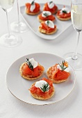 Plate of Salmon Blini with Glasses of Champagne