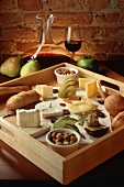 Wooden Cheese Tray with Fruit and Bread, Red Wine