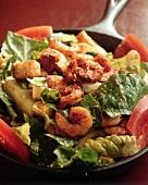 Shrimp Caesar Salad in a Skillet