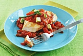 Mexicali Chicken with Salsa and Avocado; Piece on Fork