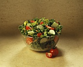 Tossed Green Salad in a Glass Bowl, Tomato