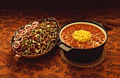 Two Kidney Bean Dishes, Three Bean Salad and Chili